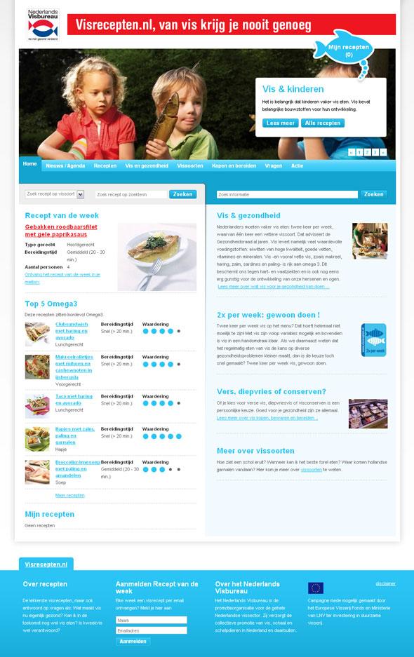 Screenshot Visrecepten homepage