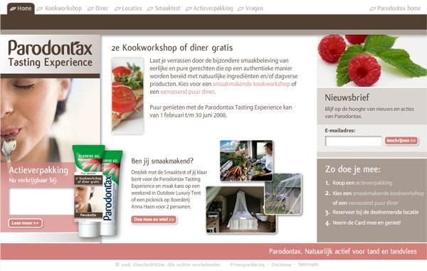 Parodontax Tasting Experience homepage